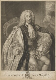 Thomas Pelham-Holles, 1st Duke of Newcastle-under-Lyne, by James Macardell, after  William Hoare - NPG D9401