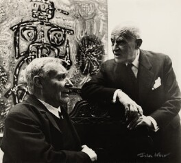 André Masson with an unknown man, by Ida Kar - NPG x132570