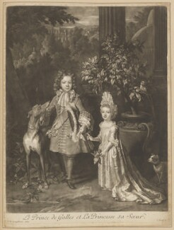 Prince James Francis Edward Stuart; Princess Louisa Maria Theresa Stuart, by John Smith, after  Nicolas de Largillière - NPG D34723