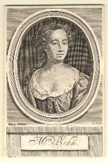Aphra Behn, by Robert White, after  John Riley, published 1716 - NPG D9483 - © National Portrait Gallery, London