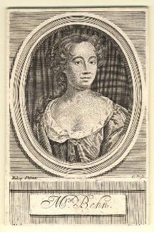 Aphra Behn, by Robert White, after  John Riley, published 1716 - NPG D9483 - © National Portrait Gallery, London