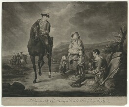 John Manners, Marquess of Granby ('Relieving the Distress'd Soldier and his Family'), by Richard Houston, published by  Robert Sayer, after  Edward Penny - NPG D34761