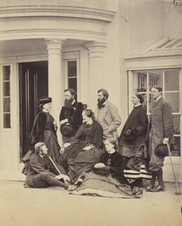 Ernest Villiers; Edith Bulwer-Lytton (née Villiers), Countess of Lytton; Henry Brougham Loch, 1st Baron Loch; Elizabeth Villiers, Baroness Loch; Henry Trotter; Maria Theresa Earle (née Villiers); Charles William Earle, by Unknown photographer - NPG Ax26304