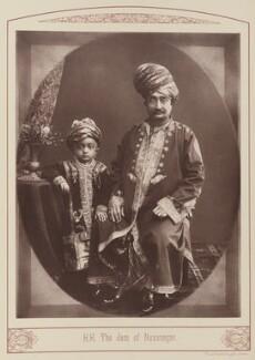 Sir Vibhaji Ranmalji, Jam Sahib of Navanagar with his son, probably Jashwantsinhji Vibhaji, Jam Sahib of Navanagar, by Unknown photographer - NPG Ax28676