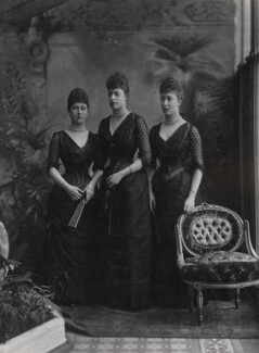 Princess Victoria of Wales; Maud, Queen of Norway; Princess Louise, Duchess of Fife, by Lafayette - NPG Ax36414