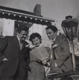 Pamela Mason (née Ostrer, later Kellino); James Mason and one unknown man, by Francis Goodman - NPG Ax39620