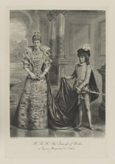 Queen Alexandra when Princess of Wales as Queen Marguerite de Valois and Hon. (Alexandra) Louvima Elizabeth Checkley (née Knollys) as her page), by Lafayette, photogravure by  Walker & Boutall - NPG Ax41003