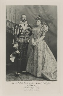 Michael Mikhailovich, Grand Duke of Russia as Henri IV and Sophia Nicholaievna, Countess de Torby as Gabrielle d'Estray, by Lafayette, photogravure by  Walker & Boutall - NPG Ax41015