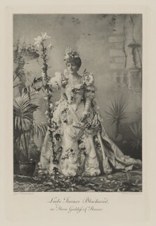 Florence (née Davis), Marchioness of Dufferin and Ava (later Countess Howe) when Lady Terence Blackwood as Flora Goddess of Flowers, by Gunn & Stuart, photogravure by  Walker & Boutall - NPG Ax41038