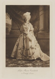 Lady Moyra de Vere Cavendish (née Beauclerk) as Countess Lazan, by Gunn & Stuart, photogravure by  Walker & Boutall - NPG Ax41062
