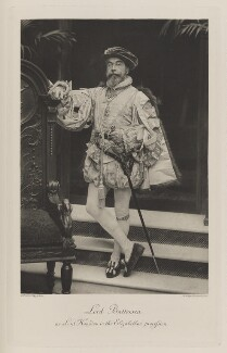 Cyril Flower, 1st Baron Battersea as Lord Hunsdon in the Elizabethan Procession, by Elliott & Fry, photogravure by  Walker & Boutall - NPG Ax41073