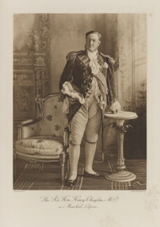 Henry Chaplin, 1st Viscount Chaplin as Marshal Lefevre, by Lafayette, photogravure by  Walker & Boutall - NPG Ax41096