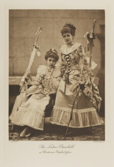 Lady Norah Beatrice Henriette Bradley-Birt (née Spencer Churchill) and Lady Lilian Maud Grenfell (née Spencer-Churchill) as Watteau Shepherdesses, by Alexander Bassano, photogravure by  Walker & Boutall, 1897; published 1899 - NPG Ax41118 - © National Portrait Gallery, London