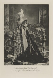 Marcia Amelia Mary (née Lane-Fox), Countess of Yarborough as a Lady of the Court of Catherine II of Russia, by Lafayette, photogravure by  Walker & Boutall - NPG Ax41124