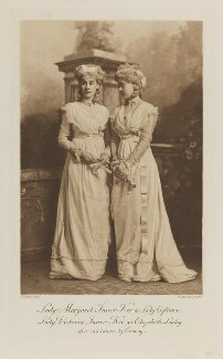 Lady Margaret Frances Susan Orr-Ewing (née Innes-Ker) as Lady Eglinton and Lady Victoria Alexandrina Villiers (née Innes-Ker) as Elizabeth Linley, after miniatures by Cosway, by Lafayette, photogravure by  Walker & Boutall - NPG Ax41169
