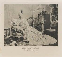 Georgiana Elizabeth (née Spencer-Churchill), Countess Howe when Lady Curzon as Maria Leszczynska, by Lafayette (Lafayette Ltd), photogravure by  Walker & Boutall, 6 July 1897; published 1899 - NPG Ax41170 - © National Portrait Gallery, London