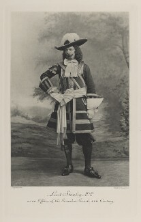 Edward George Villiers Stanley, 17th Earl of Derby as an officer of the Grenadier Guards, XVII Century, by Lafayette, photogravure by  Walker & Boutall - NPG Ax41181