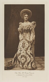 Mary Victoria (née Leiter), Lady Curzon of Kedleston as Valentina Visconti of Milan, A.D. 1447, by Alice Hughes, photogravure by  Walker & Boutall - NPG Ax41200