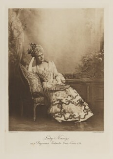 Rose Riversdale Towneley-Bertie (née Glyn), Lady Norreys as a Paysanne Galante from the time of Louis XVI, by Lafayette, photogravure by  Walker & Boutall - NPG Ax41230