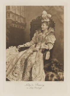 Rosamond Jane Frances (née Spencer-Churchill), Lady de Ramsey as Lady Burleigh, by Lafayette, photogravure by  Walker & Boutall - NPG Ax41232