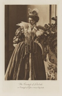 Grace Cecile Lowther (née Gordon), Countess of Lonsdale as the Countess of Essex from the time of Elizabeth, by Byrne & Co, photogravure by  Walker & Boutall - NPG Ax41269