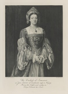 Susan Margaret (née MacKinnon), Duchess of Somerset as Jane, Queen of England, wife to King Henry VIII and mother to King Edward VI, by Sir Edward John Poynter, 1st Bt, photogravure by  Walker & Boutall - NPG Ax41276