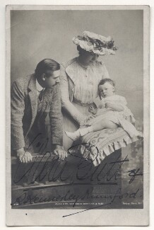 Robert Henry Kennerley-Rumford and Dame Clara Ellen Butt with their son, by Rotary Photographic Co Ltd, early 1900s - NPG Ax45844 - © National Portrait Gallery, London