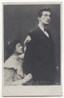 Gertrude Elliott as Maisie and Sir Johnston Forbes-Robertson as Dick Heldar in 'The Light That Failed', by John Caswall Smith, and by  Lizzie Caswall Smith, published by  Rotary Photographic Co Ltd - NPG Ax45905