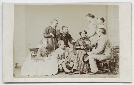 Family group including Hon. Georgina Louisa Mostyn, Hon. Frances Sarah Whittuck (née Butler), Robert Balfour Stewart and Frances Penelope (née Rawson), Viscountess Mountgarret, by Thomas Rodger - NPG Ax46293