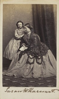 Edith (née Harcourt), Countess of Winchilsea and Nottingham; Lady Susan Harriet Harcourt (née Holroyd), by Unknown photographer - NPG Ax68068