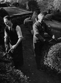 Frank Salisbury with his gardener, by Unknown photographer - NPG Ax76072
