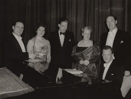 Benjamin Britten with Rowland Jones, Nancy Evans, Lord Harewood, Michael Langdon and Joan Cross, by Western Morning News - NPG x15231