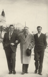 Peter Pears; Francis Poulenc; Benjamin Britten, by Unknown photographer - NPG x15234
