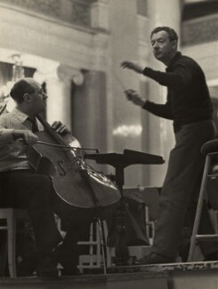Mstislav Rostropovich; Benjamin Britten, by Unknown photographer - NPG x15247