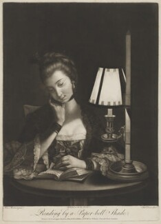 Reading by a Paper-bell Shade (Unknown woman), by Philip Dawe, after  Henry Robert Morland - NPG D2906