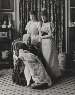 Prince Edward, Duke of Windsor (King Edward VIII); Queen Victoria; Queen Mary; Queen Alexandra, by Percy Lewis Pocock, for  W. & D. Downey - NPG x20793