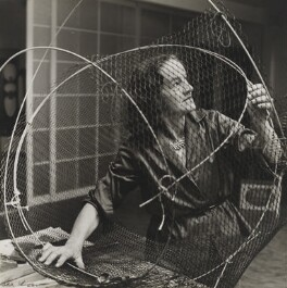Barbara Hepworth at work on the armature of a sculpture, by Ida Kar - NPG x88502