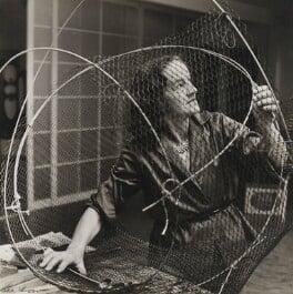 Barbara Hepworth at work on the armature of a sculpture, by Ida Kar, 1961 - NPG  - © National Portrait Gallery, London