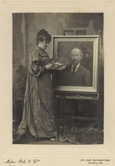 Helen Bramwell Norris with a painting of Algernon Charles Swinburne, by Poole & Co,  - NPG x25144 - © National Portrait Gallery, London