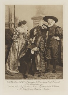 Ethel Anne Priscilla ('Ettie') Grenfell (née Fane), Lady Desborough as Marie de Medici; Sir William Vernon Harcourt as Simon, Lord Harcourt, Lord Chancellor 1710; Arthur James Balfour, 1st Earl of Balfour as a gentleman of Holland, by Lafayette, photogravure by  Walker & Boutall - NPG Ax41284