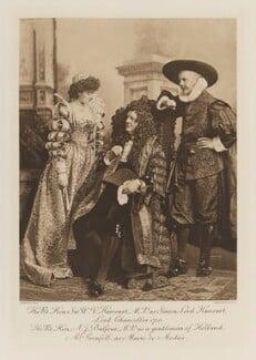 Ethel Anne Priscilla ('Ettie') Grenfell (née Fane), Lady Desborough as Marie de Medici; Sir William Vernon Harcourt as Simon, Lord Harcourt, Lord Chancellor 1710; Arthur James Balfour, 1st Earl of Balfour as a gentleman of Holland, by Lafayette, photogravure by  Walker & Boutall - NPG Ax41284