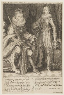 King James I of England and VI of Scotland; Henry, Prince of Wales, by Willem de Passe - NPG D10607
