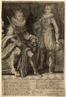 King James I of England and VI of Scotland; Henry, Prince of Wales, by Willem de Passe - NPG D10608