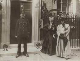 Charlotte Despard (née French) and Anne Cobden-Sanderson with a policeman, by Unknown photographer, 19 August 1909 - NPG  - © National Portrait Gallery, London
