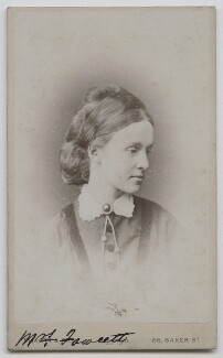 Dame Millicent Garrett Fawcett (née Garrett), by Elliott & Fry, 1860s-1870s - NPG x28148 - © National Portrait Gallery, London