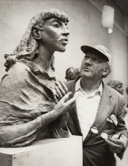 Jacob Epstein with a bust of Kathleen, Lady Epstein, by Unknown photographer - NPG x30416