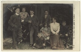 'Mr. & Mrs. Dan Leno & Family' (including Dan Leno and Sarah Lydia Galvin (née Reynolds)), by William Davey, published by  J. Beagles & Co - NPG x32133