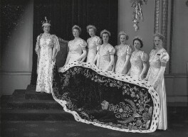 Queen Elizabeth, the Queen Mother at the coronation with her six maids of honour, by Hay Wrightson - NPG x32321