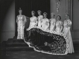 Queen Elizabeth, the Queen Mother at the coronation with her six maids of honour, by Hay Wrightson - NPG x32322