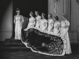 Queen Elizabeth, the Queen Mother at the coronation with her six maids of honour, by Hay Wrightson - NPG x32323